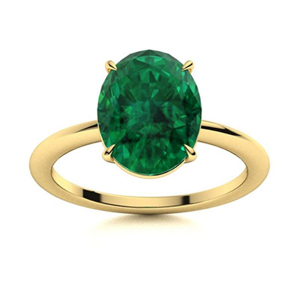 Natural 4.41 CTW Emerald Solitaire Ring 14K Yellow Gold