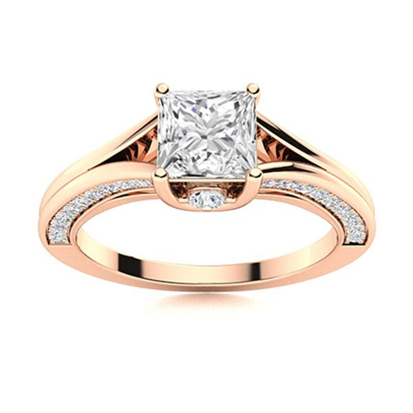 Natural 1.37 CTW Diamond Solitaire Ring 18K Rose Gold