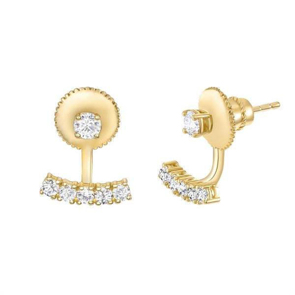 Natural 0.72 CTW Floating Jacket Diamond Earrings with Studs 18KT Yellow Gold