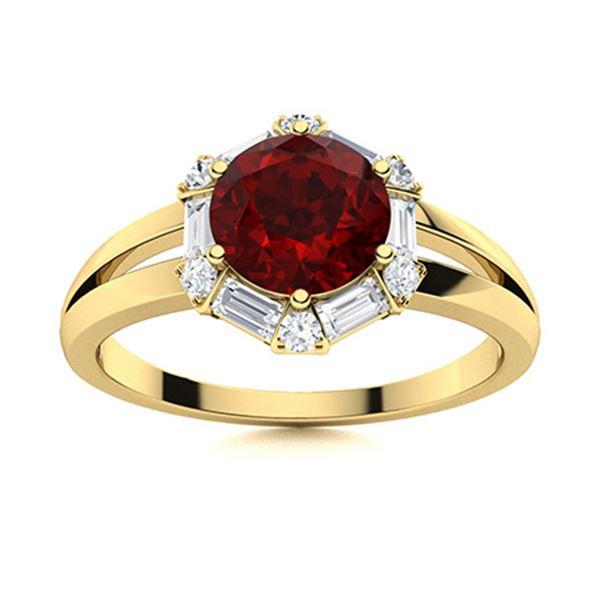 Natural 1.35 CTW Garnet & Diamond  Engagement Ring 14K Yellow Gold