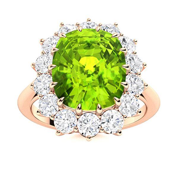Natural 5.73 CTW Peridot & Diamond Engagement Ring 18K Rose Gold
