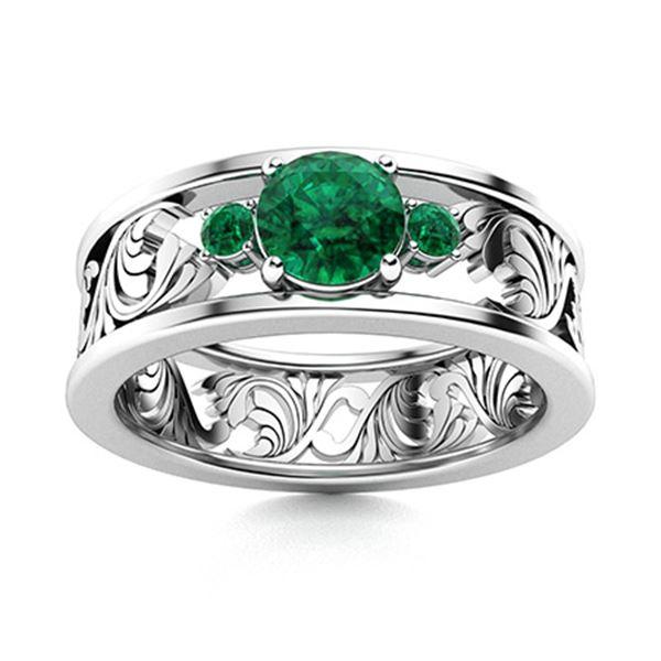 Natural 0.47 CTW Emerald & Diamond Engagement Ring 14K White Gold