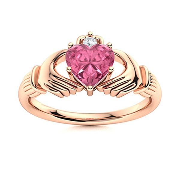 Natural 0.68 CTW Tourmaline & Diamond Engagement Ring 14K Rose Gold