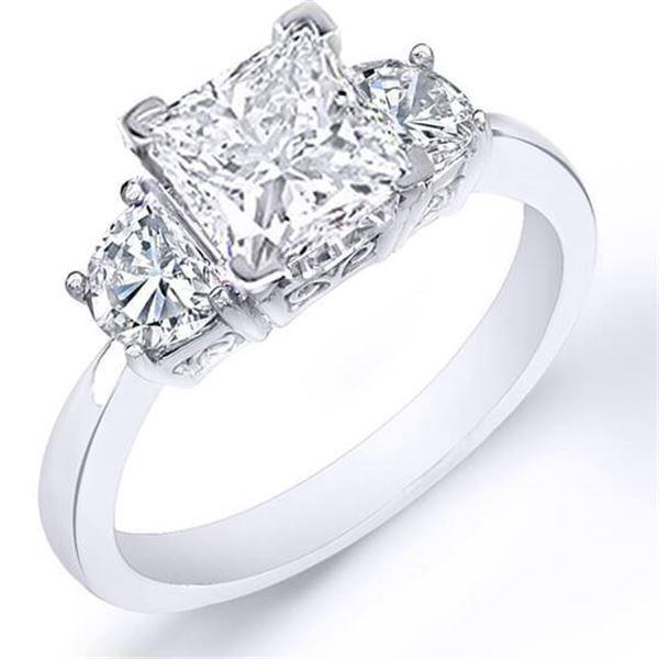 Natural 1.52 CTW Princess Cut & Half Moon Diamond Ring 14KT White Gold