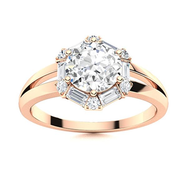 Natural 1.31 CTW Diamond Solitaire Ring 14K Rose Gold