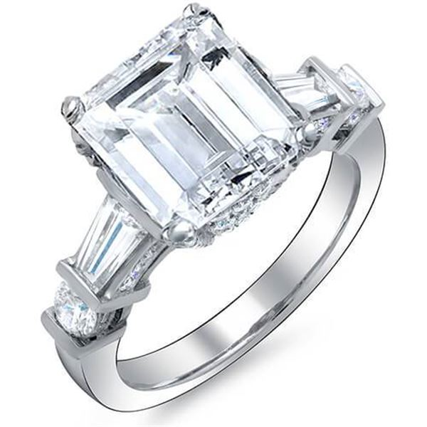 Natural 3.85 CTW Emerald Cut, Baguette & Round Channel & Pave Diamond Engagement Ring 14KT White Gol
