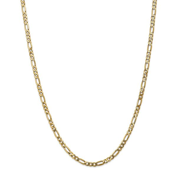 14k Gold 4 mm Flat Figaro Chain Necklace - 22 in.