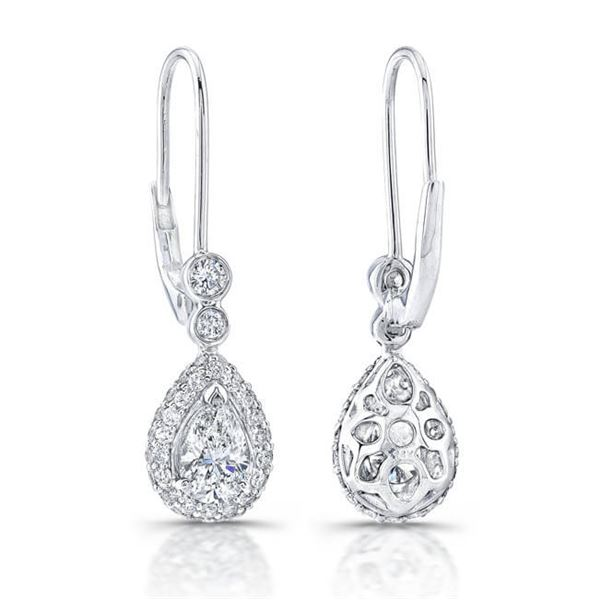 Natural 1.92 CTW Halo Pear Cut Tear Drop Dangling Diamond Earrings 14KT White Gold