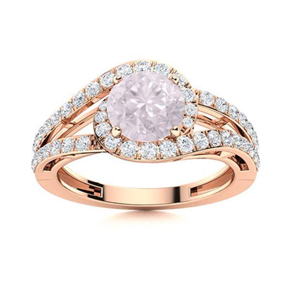 Natural 1.26 CTW Rose Quartz & Diamond Engagement Ring 14K Rose Gold