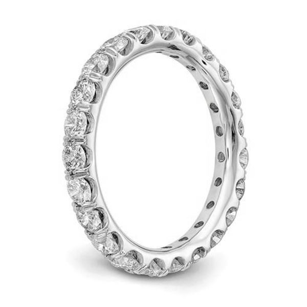 Natural 2.02 CTW Round Brilliant Diamond Eternity Band Wedding Ring 14KT White Gold