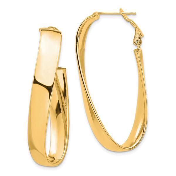 14k Yellow Gold Omega Back Oval Hoop Earrings - 7x18 mm
