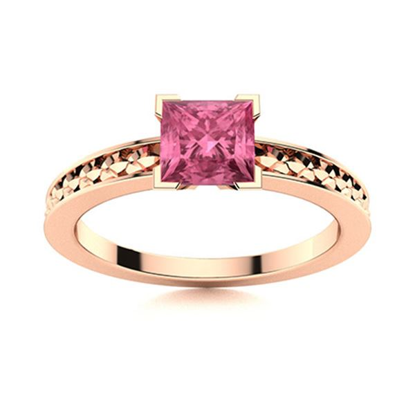 Natural 1.21 CTW Tourmaline Solitaire Ring 14K Rose Gold