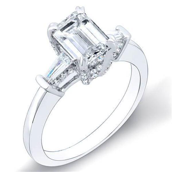 Natural 1.62 CTW Emerald Cut & Baguettes Pave Basket Diamond Ring 14KT White Gold