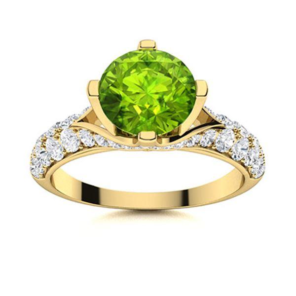 Natural 2.53 CTW Peridot & Diamond Engagement Ring 14K Yellow Gold