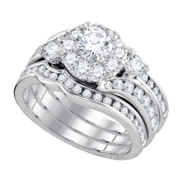 14kt White Gold Round Diamond 3-Piece Bridal Wedding Ring Band Set 2 Cttw