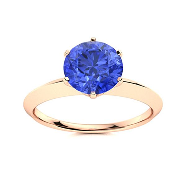 Natural 2.51 CTW Ceylon Sapphire Solitaire Ring 14K Rose Gold