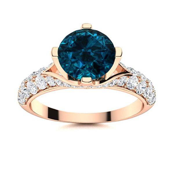 Natural 1.54 CTW Topaz & Diamond Engagement Ring 18K Rose Gold