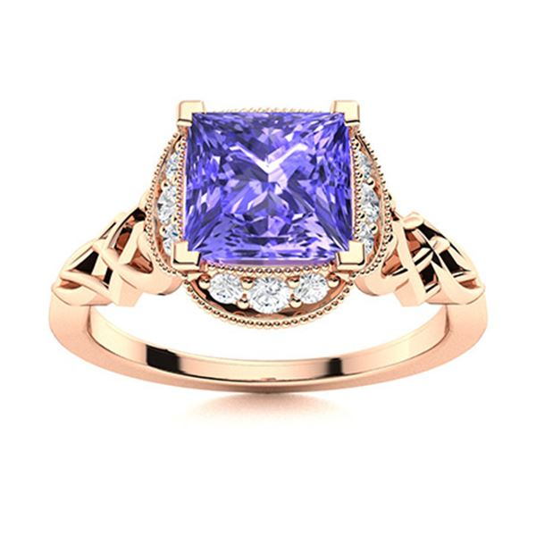 Natural 1.17 CTW Tanzanite & Diamond Engagement Ring 18K Rose Gold