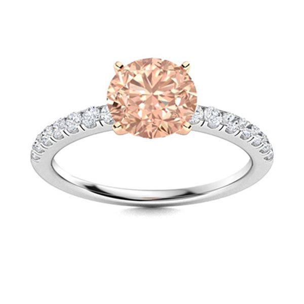 Natural 1.96 CTW Morganite & Diamond Engagement Ring 14K White Gold