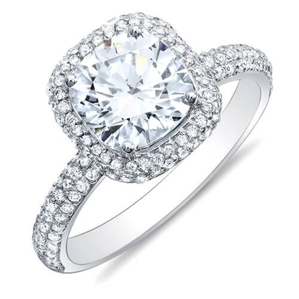 Natural 2.52 CTW Cushion Cut Halo Diamond Engagement Ring 14KT White Gold