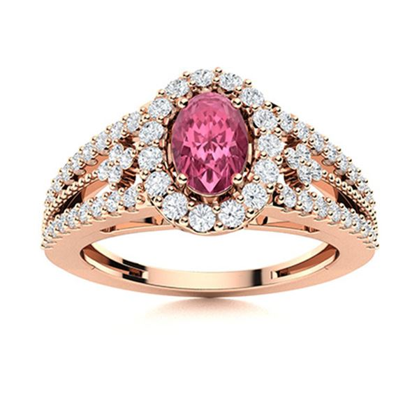 Natural 0.90 CTW Tourmaline & Diamond Engagement Ring 14K Rose Gold