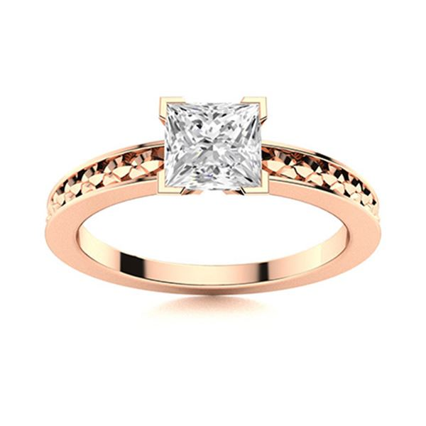 Natural 0.68 CTW Topaz Solitaire Ring 18K Rose Gold