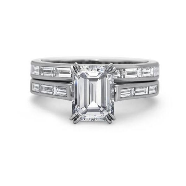 Natural 3.22 CTW Channel Set Baguettes & Emerald Cut Diamond Ring 18KT White Gold