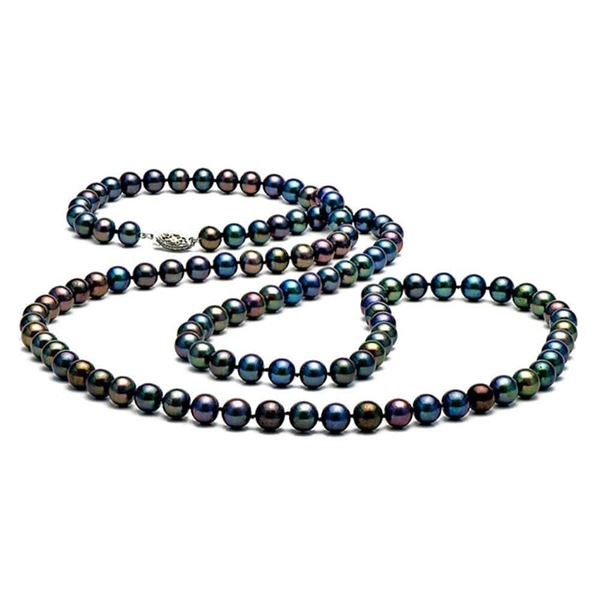 "Black Freshwater Pearl Rope, Choose: 35 or 52""es, 7.5-8.0mm"