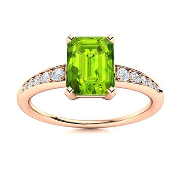 Natural 0.70 CTW Peridot & Diamond Engagement Ring 14K Rose Gold