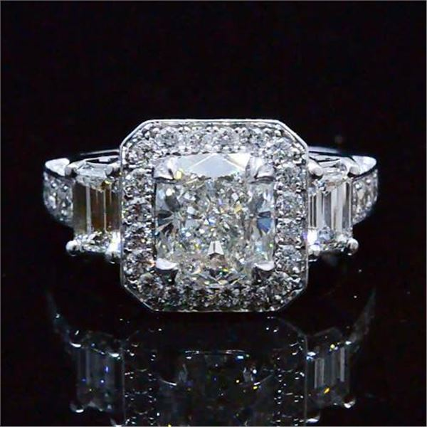 Natural 2.92 CTW Unique Design Halo Cushion Cut Diamond Engagement Ring 14KT White Gold