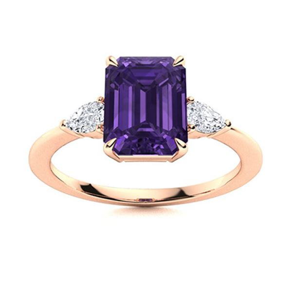 Natural 2.93 CTW Amethyst & Diamond Engagement Ring 18K Rose Gold