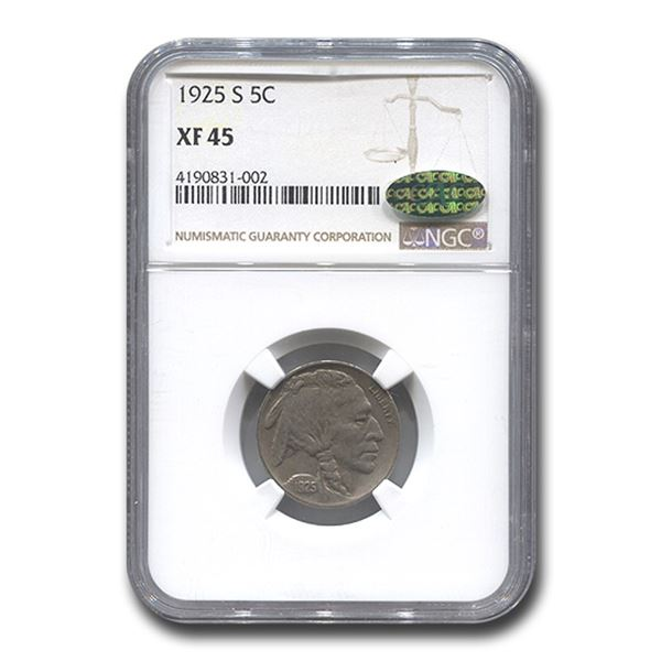 1925-S Buffalo Nickel XF-45 NGC CAC