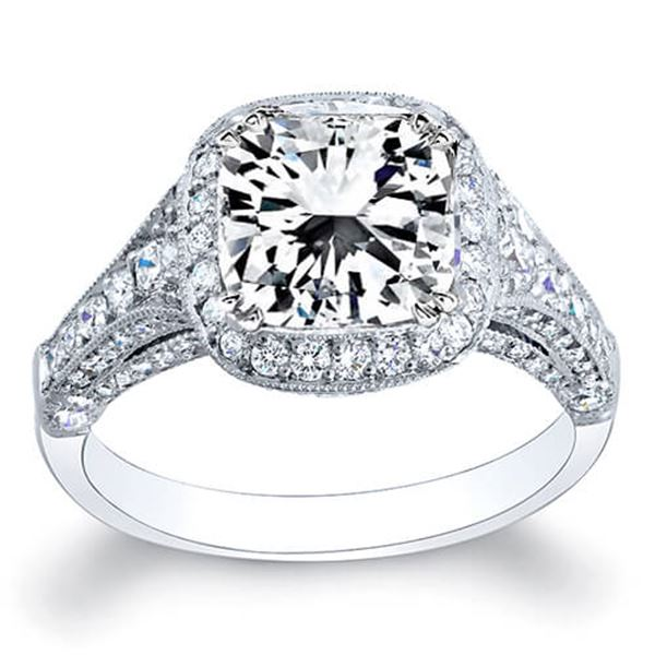 Natural 3.55 CTW Radiant Cut Diamond Engagement Ring 18KT White Gold