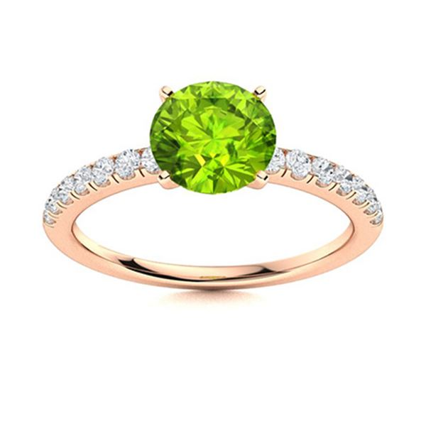Natural 0.97 CTW Peridot & Diamond Engagement Ring 18K Rose Gold