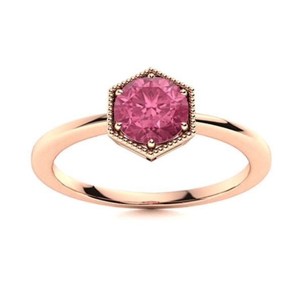 Natural 1.22 CTW Tourmaline Solitaire Ring 18K Rose Gold