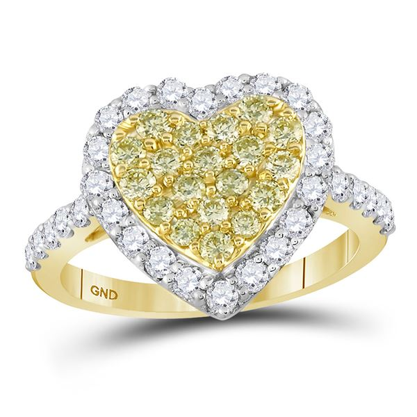 14kt Yellow Gold Womens Round Yellow Diamond Heart Ring 1 Cttw