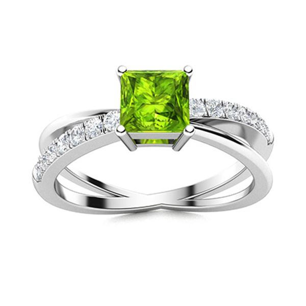 Natural 0.71 CTW Peridot & Diamond Engagement Ring 18K White Gold
