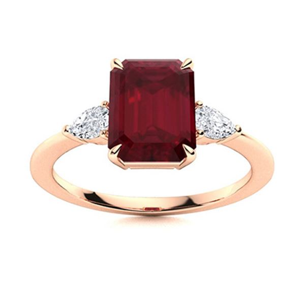 Natural 4.63 CTW Ruby & Diamond Engagement Ring 18K Rose Gold