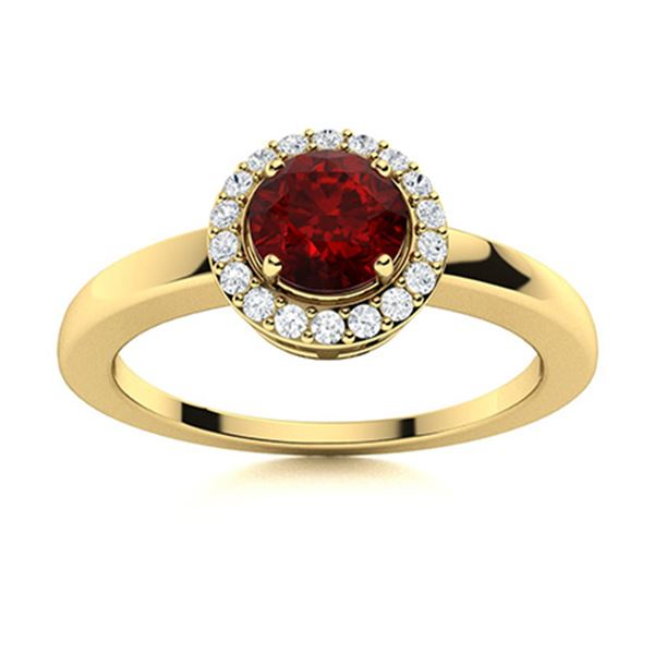 Natural 0.52 CTW Garnet & Diamond Engagement Ring 14K Yellow Gold