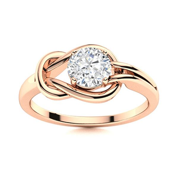 Natural 0.58 CTW White Sapphire Solitaire Ring 14K Rose Gold