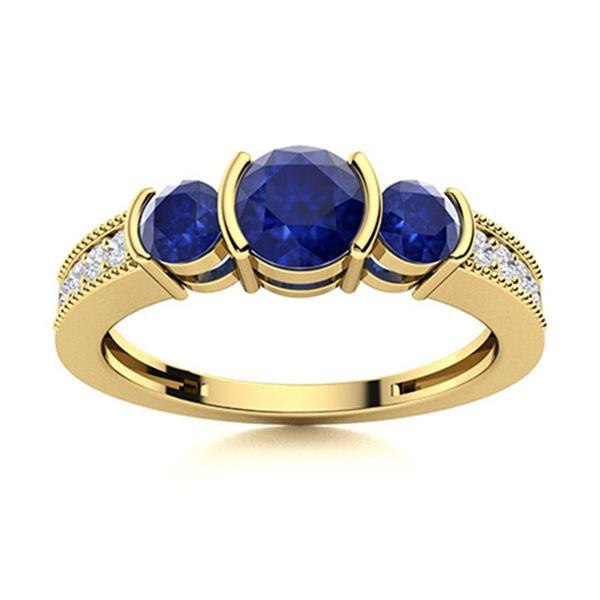 Natural 1.07 CTW Sapphire & Diamond Engagement Ring 14K Yellow Gold