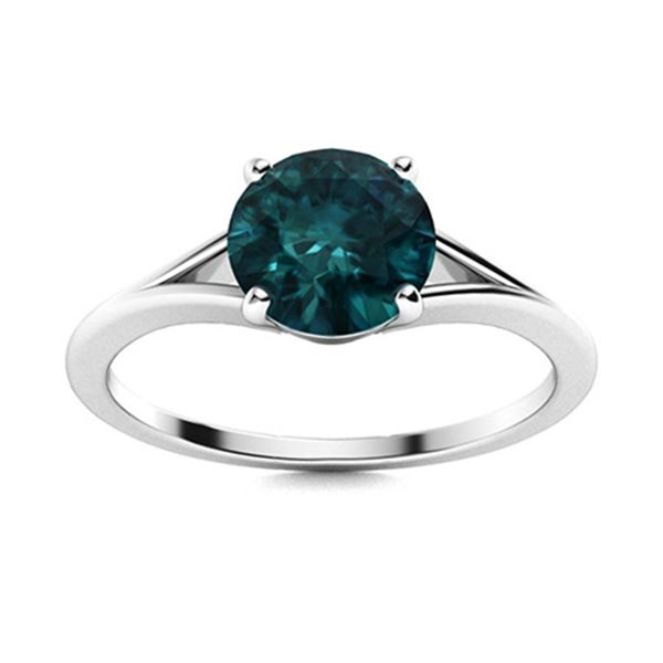 Natural 1.01 CTW Blue Diamond Solitaire Ring 14K White Gold