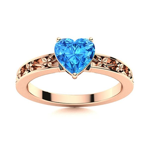 Natural 0.51 CTW Topaz Solitaire Ring 18K Rose Gold