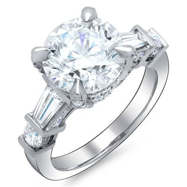 Natural 2.82 CTW Round Cut & Baguettes Diamond Engagement Ring 18KT White Gold