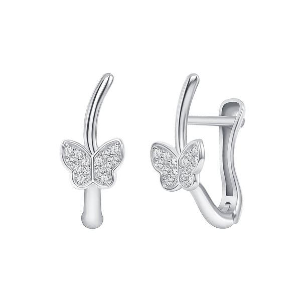 Natural 0.17 CTW Butterfly Diamond Earrings 18KT White Gold