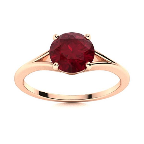 Natural 1.61 CTW Ruby Solitaire Ring 14K Rose Gold