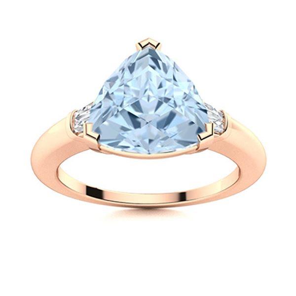 Natural 2.18 CTW Aquamarine & Diamond Engagement Ring 18K Rose Gold