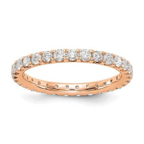 Natural 1.27 CTW Round Brilliant Diamond Eternity Band Wedding Ring 18KT Rose Gold