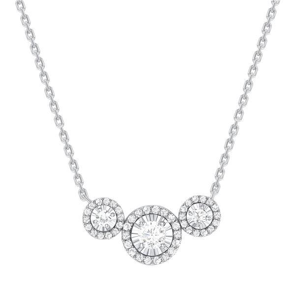 Natural 0.87 CTW Halo Diamond Trio Necklace 14KT White Gold