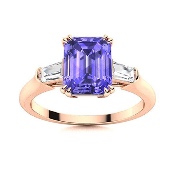 Natural 1.17 CTW Tanzanite & Diamond Engagement Ring 14K Rose Gold